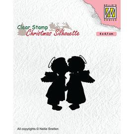 Nellie Snellen Stamp motif, transparent, 2 kissing angels, 40 x 41 mm