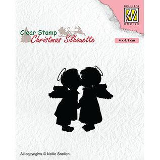 Nellie Snellen Stempelmotief, transparant, 2 kussende engelen, 40 x 41 mm