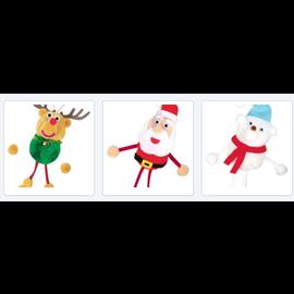 Kinder Bastelsets / Kids Craft Kits Pom pom set geluksbrengers in selectie rendier, kerstman, ijsbeer