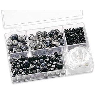 Assortimentsdoos glaskralen (11,5 x 7,5 x 2,5 cm, 80 g) zwart