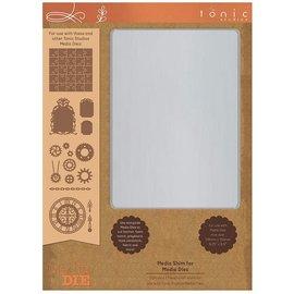 Tonic Studio´s Plaque métallique, A5, pour un poinçonnage optimal avec gabarit de poinçonnage, de motifs en filigrane