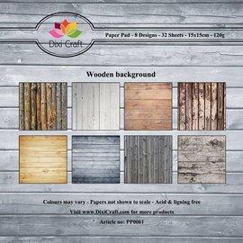 Designer block, wood motifs, 15.5 x 15.5 cm, 32 sheets, 8 motifs x4, 120gsm.