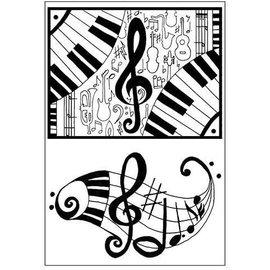 Motivo de sello, A7 / 74 x 105 mm, transparente, notas musicales