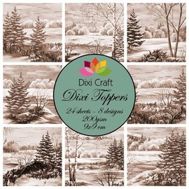 Toppers, winter, Christmas, landscapes, handicrafts with paper, Christmas decorations