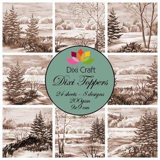 Toppers, winter, kerst, landschappen, handwerk met papier, kerstversiering