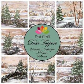Toppers, inverno, Natale, paesaggi, artigianato con carta, decorazioni natalizie