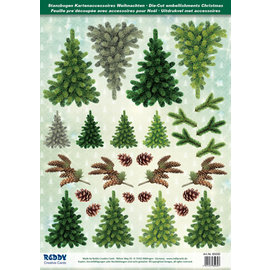 Die cut Christmas trees, made of 250g cardboard, A4 format