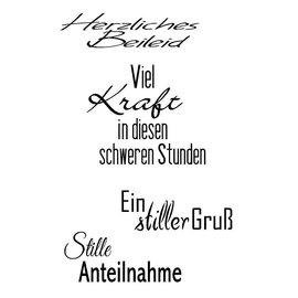 Sello transparente, A7, texto alemán, simpatía