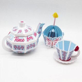 Tonic Studio´s Snijmallen / Snijsjablonen, Dimensions, 3D time for tea, 3354E