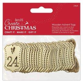 Docrafts / Papermania / Urban Papermania, holze Etiketten, mit Nummer, 1 bis 24, Adventskalender, Weihnachten,