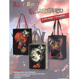Ensemble artisanal: Halloween, 6 sacs-cadeaux avec des modèles, des instructions