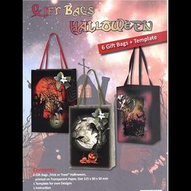 Set de manualidades: Halloween, 6 bolsas de regalo con plantillas, instrucciones