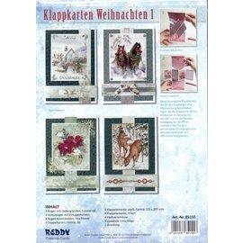 Emballage artisanal, jeu de cartes: cartes de Noël, cartes pliantes
