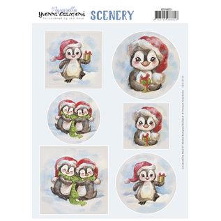 Yvonne Creations Stanzbogen, Scenery, Aquarella, Pinguins
