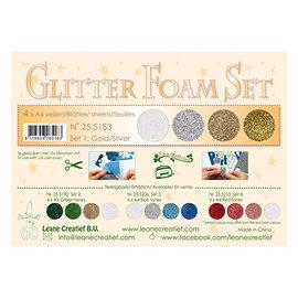 Leane Creatief - Lea'bilities und By Lene glitter foam, 4 verschillende kleuren, goud / zilver