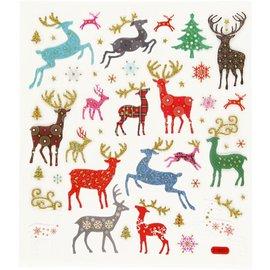 STICKER / AUTOCOLLANT Stickers, reindeer, with glitter stones, 25 motifs