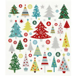 STICKER / AUTOCOLLANT Stickers, Christmas trees, with glitter stones, 25 motifs