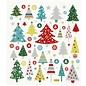 STICKER / AUTOCOLLANT Stickers, kerstbomen, met glittersteentjes, 25 motieven
