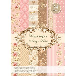 Vintage, Nostalgia und Shabby Shic Designer paper set, Vintage Roses, A4, 34 sheets!