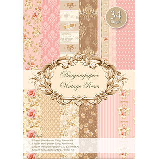 Vintage, Nostalgia und Shabby Shic Designpapier set, Vintage Roses, A4, 34 vel!