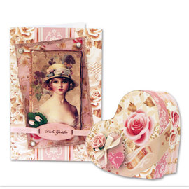 Vintage, Nostalgia und Shabby Shic Set de papier design, Roses Vintage, A4, 34 feuilles!