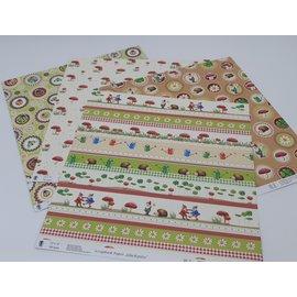 "Karten und Scrapbooking Papier, Papier blöcke Carta 30,5 x 30,5 cm, premium, ""funghi fortunati"" 4 diversi motivi"