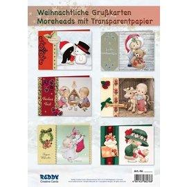 Kaarten, handwerkset, Moreheads voor 8 kerstkaarten met transparant papier