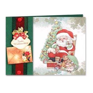 Biglietti, set artigianale, Moreheads per 8 biglietti di auguri di Natale con carta trasparente