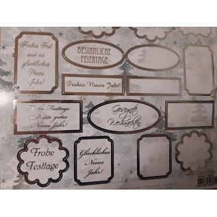 Embellishments / Verzierungen Stanzbogen mit 25 Schildchen, mit deutsche Text, Weihnachtsgrüße