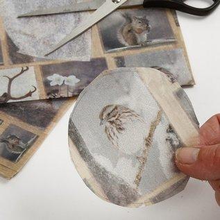 DECOUPAGE AND ACCESSOIRES Decoupagepapier, 10 vellen, dieren in de winter 25x35cm elk