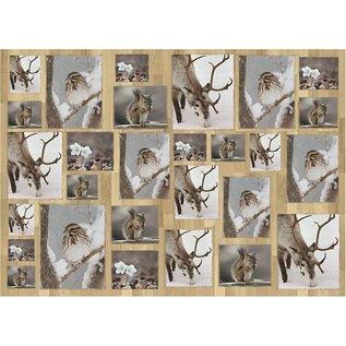 DECOUPAGE AND ACCESSOIRES Papel decoupage, 10 hojas, animales en invierno 25x35cm cada una