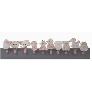 Embellishments / Verzierungen Baby braces, 10 diverse motives, in selection baby pink or baby blue