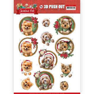 AMY DESIGN A4 Bogen, 3D Puschout, Christmas Hunden