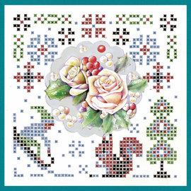 JEANINES ART  Håndverkssett, KartenSET, Sparkles Set 45, Jeanines kunst, vinterens farger, rosa vinterblomster