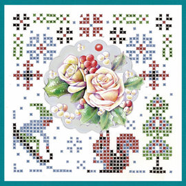 JEANINES ART  Set di artigianato, KartenSET, Sparkles Set 45, Arte di Jeanine, I colori dell'inverno, Fiori rosa invernali