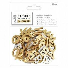 Docrafts / Papermania / Urban 81 letras de madera acabadas en oro metalizado
