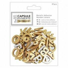 Docrafts / Papermania / Urban 81 lettere in legno rifinite con oro metallizzato