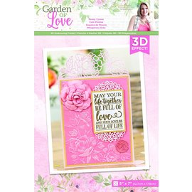Crafter's Companion Garden of Love 3D embossing stencil, 12.7 x 17.8 cm, peony corner