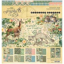 GRAPHIC 45 Woodland Collection, bloque de diseño de 30,5 x 30,5 cm + hoja de pegatinas