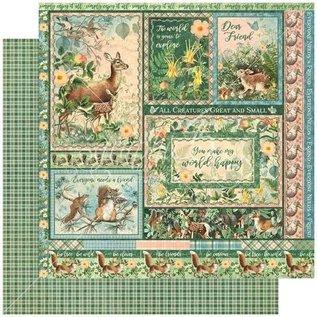 GRAPHIC 45 Woodland Collection, designer block 30.5 x 30.5cm + sticker sheet