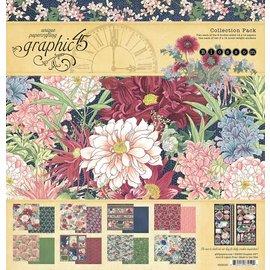 GRAPHIC 45 Graphic 45, Blossom Collection, bloque de papel de diseño de 30,5 x 30,5 cm + juego de pegatinas.