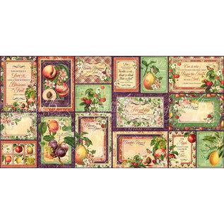 """GRAPHIC 45 Gráfico 45, Ephemera """"Fruit & Flora"""" - Piezas troqueladas y tarjetas de diario"""