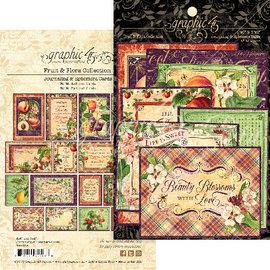 """GRAPHIC 45 Grafico 45, Ephemera """"Fruit & Flora"""" - Parti fustellate e schede per l'inserimento nel diario"""