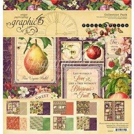"GRAPHIC 45 Graphic 45, Colección ""Fruit & Flora"", bloque de papel de diseño 30,5 x 30,5cm + set de pegatinas!"