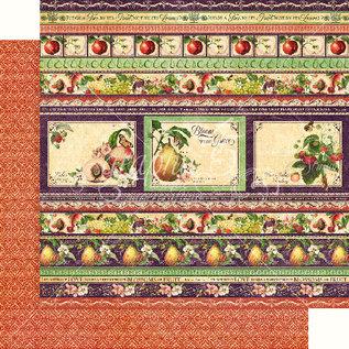"""GRAPHIC 45 Grafikk 45, """"Fruit & Flora"""" Collection, designer papirblokk 30,5 x 30,5 cm + klistremerksett!"""