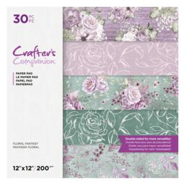 Crafter's Companion Blocco di carta, fantasia floreale, 30,5 x30,5 cm, 200 gsm