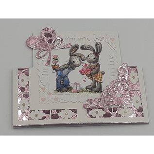 Bilder, 3D Bilder und ausgestanzte Teile usw... A4, Blat met beeldjes: Bunny Love