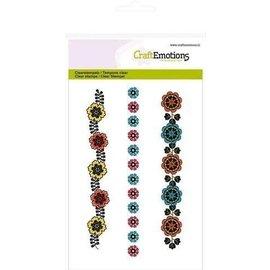 Craftemotions Gjennomsiktig stempelmotiv, A6, blomsterkanter