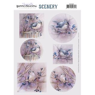 Yvonne Creations A4 die cut sheet, Lovely Birds