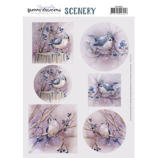 Yvonne Creations Foglio fustellato A4, Lovely Birds
